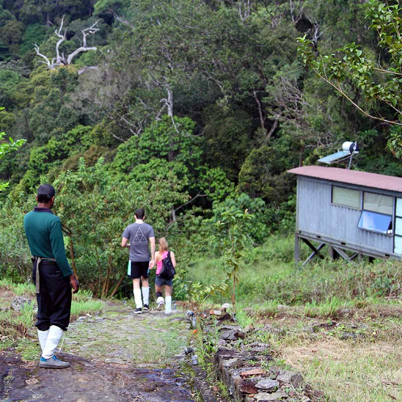 Guests walking out of the chalet to start the trek