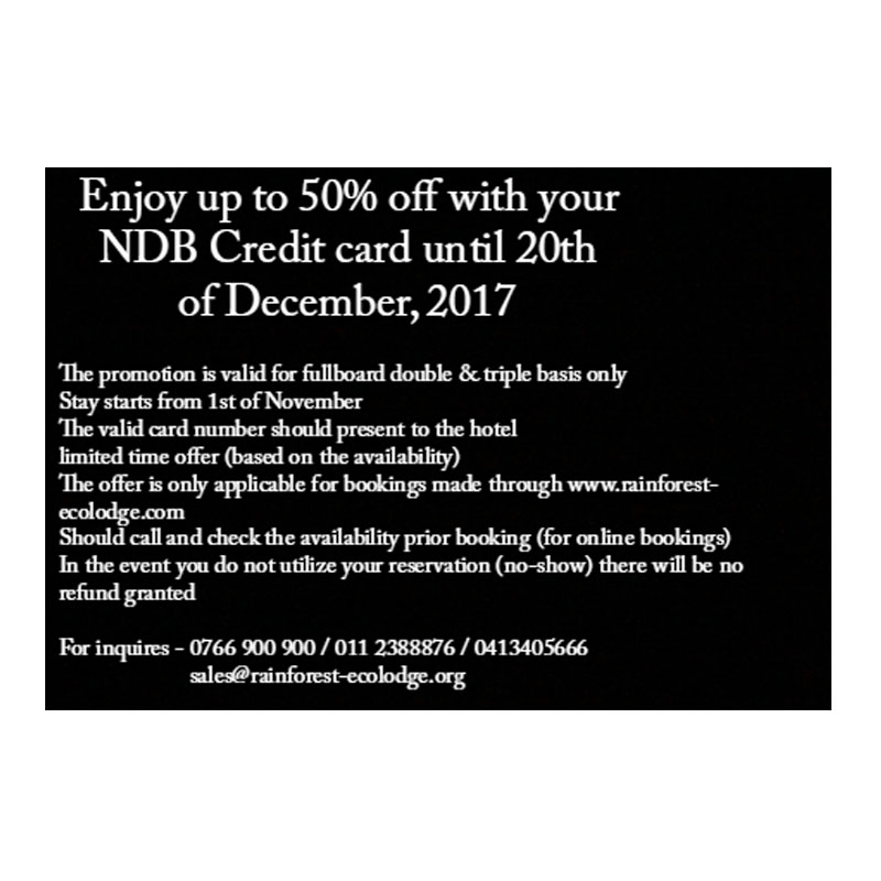 Enjoy up to a 50% off with your NDB Credit card